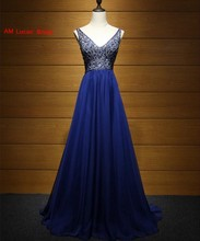 New Evening Dresses 2017 Beaded Crystals Deep V Back Princess Style Formal Gowns For Wedding Party Prom Dresses