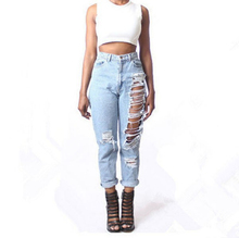 The aliexpress High quality fashion jeans Europe and the United States hole loose cowboy straight short pants nine minutes pants