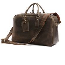 New Arrival 100% Rare Crazy Horse Leather Men's Travel Bag Shoulder Bag Handbags Briefcases Laptop Bag Huge 18′ 20′ 2 sizes 7156