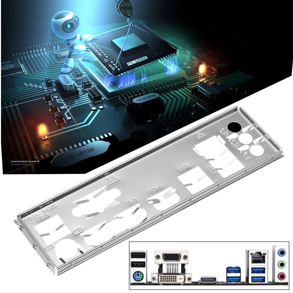 GA-78LMT Shield Back Plate Bracket Motherboard Motherboard Header Connector Cable Adapter With PCI Slot Plate Bracket