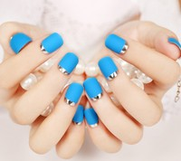 24pcsNew 24pcs sexy blue Color Silver Side False Nail Art With Glue plain color Fake Nail Tip Finished manicure nail sticker