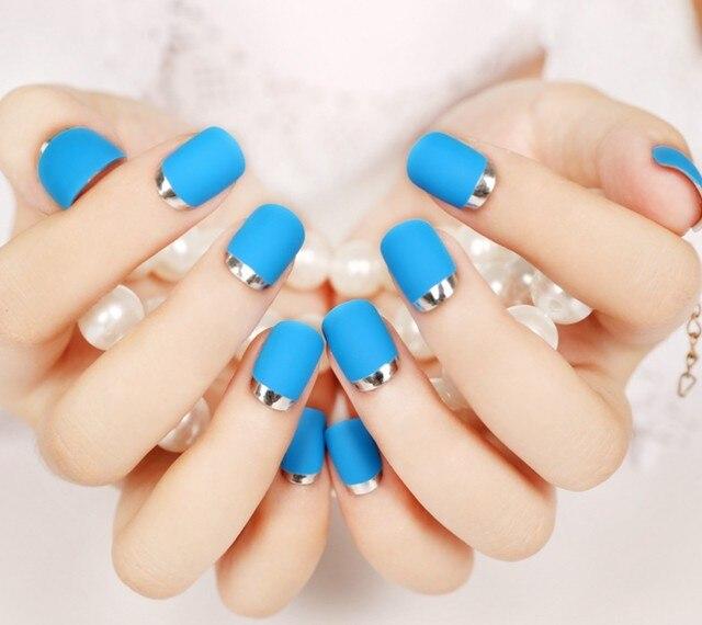 24pcsnew 24pcs sexy blue color silver side false nail art with 24pcsnew 24pcs sexy blue color silver side false nail art with glue plain color fake nail prinsesfo Choice Image