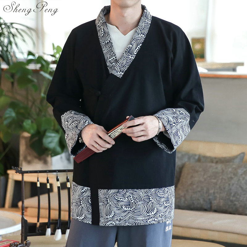 Traditional chinese clothing for men long sleeve shirt oriental clothing traditional chinese men clothing shanghai tang V1019