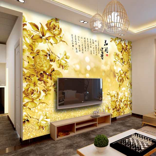 Gold Flower Rich Chinese Style Wallpaper Flowers 3D Large Mural Living Room Bedroom Stereo TV Background