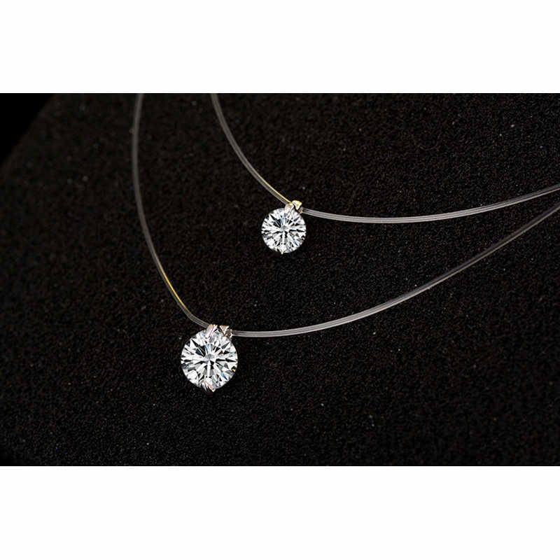 925 Sterling Silver Dazzling Zircon Necklace Invisible Transparent Fishing Line Pendant Chokers Collar Jewelry For Women