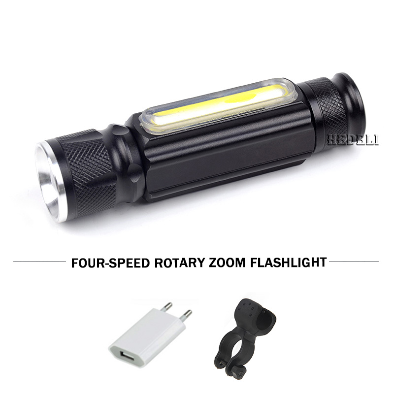 Portable Lighting 18650 Battery USB LED Flashlight with Magnet CREE MXL T6 and COB Torch Fine Adjustable Waterproof Flashlight