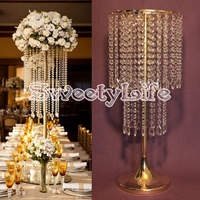 2017 new style Gold crystal Table Centerpiece wedding flower vase wedding table centerpiece table stand wedding decoration