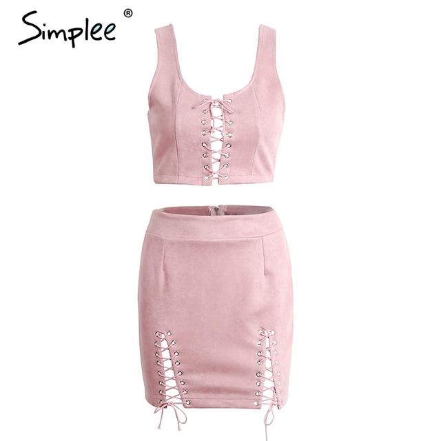 Simplee Elegant lace up two-piece short dress Women summer 2017 sleeveless hollow out bodycon dress Slim zipper sexy dress