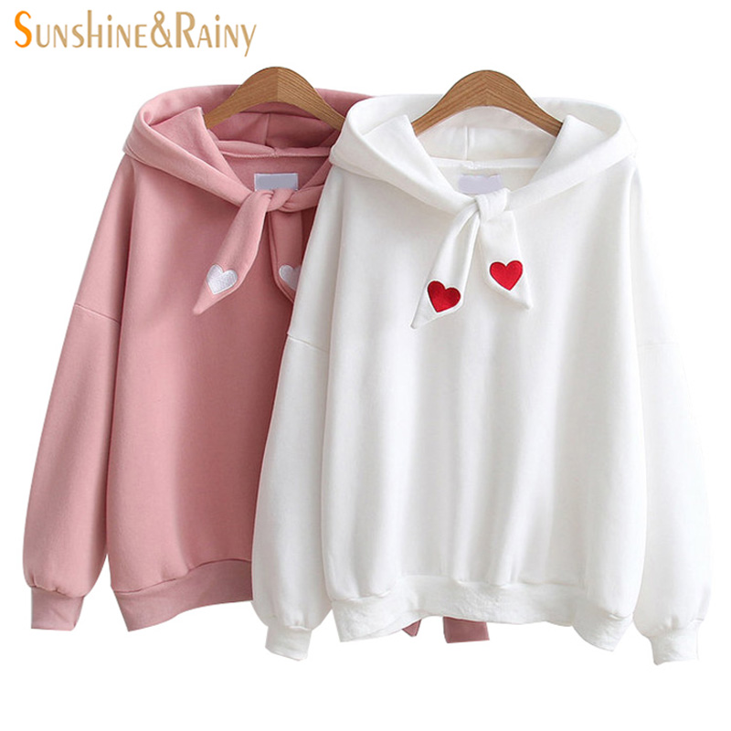 2018 Spring fashion love knot cap hoodies fleece girls sweatshirt small fresh loose sleeves all-match hooded tops coat