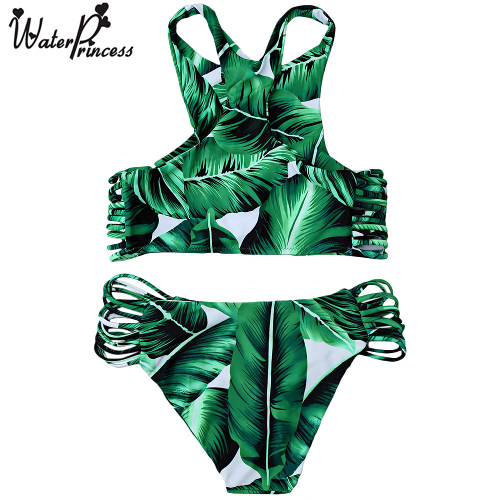 Water princess women bikini low cut push up bandage palm leaf prin swimsuit beachwear strappy brazilian