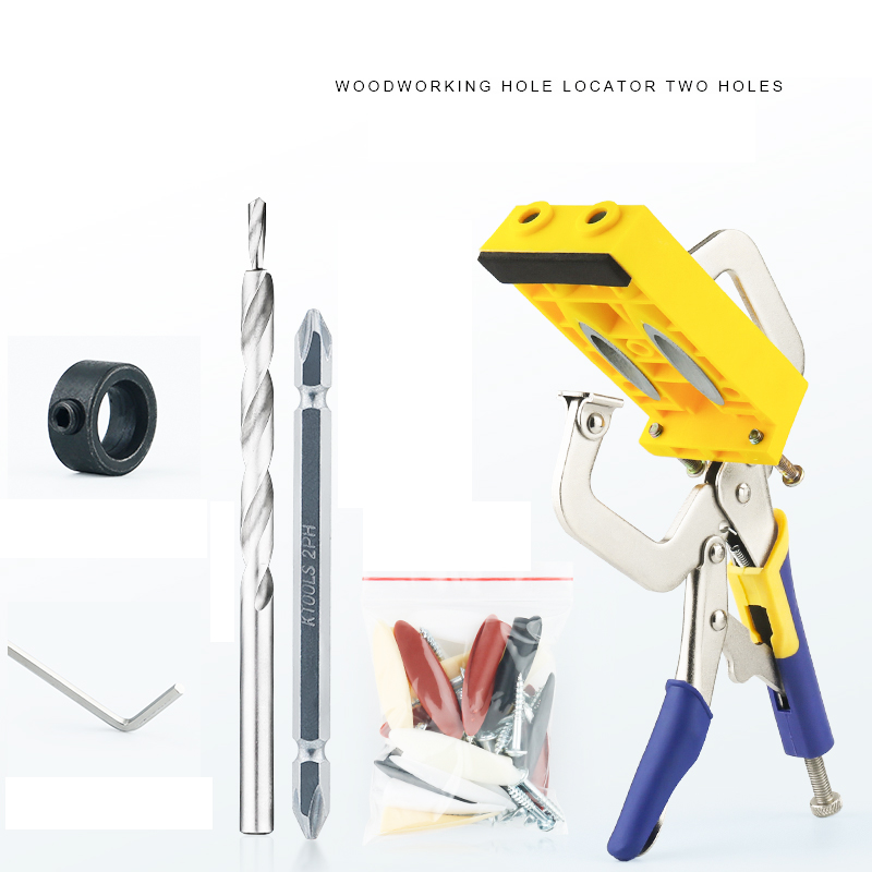 Woodworking hole lacator Guide Carpenter Kit System inclined hole drill tools Pocket Hole Jig Kit woodworking tool pocket hole jig woodwork guide repair carpenter kit system with toggle clamp and step drilling bit kreg type