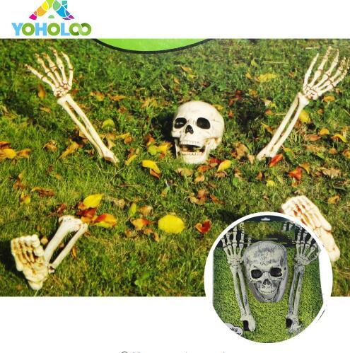купить Halloween Skeleton Lawn Stakes Set Plastic Hands and Skull Haunted House Escape horror props Halloween Decorations по цене 986.55 рублей