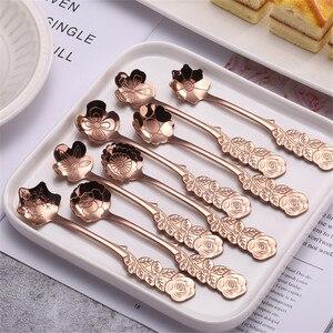 Cucharas de flores de acero inoxidable, té y café, crema, fruta, postre, cuchara, flores de oro rosa, cucharilla, vajilla, decoración de boda, 8 Uds.