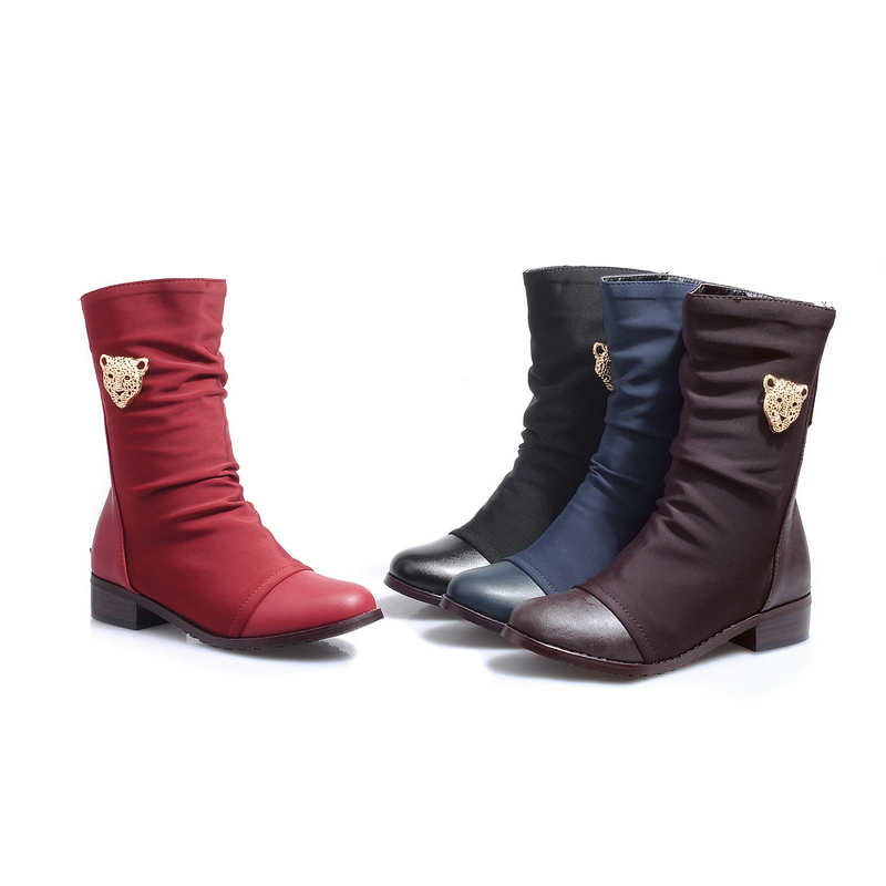 ARMOIRE Brand New Sexy Women Riding Mid Calf Snow Boots Red Black Brown Blue Ladies Shoes low Heels AQ107 Plus Big Size 47 33 12 brand new hot sales women nude ankle boots red black buckle ladies riding spike shoes high heels emb08 plus big size 32 45 11
