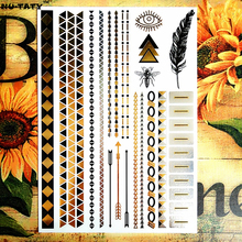 NU-TATY Bee Golden Temporary Body Art Flash Tattoo Sticker 21x15cm Waterproof Tatoo Henna Gold Tattoo Stickers