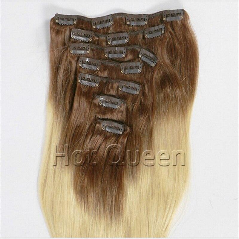 100% Hình Ảnh Thực Tế Màu Nâu Để Tóc Vàng T #8/60 Ombre Clip Trong tóc Full  Head 7 Clips/Đặt 140 gam 8A Brazil Remy Clip Sợi Lông thẳng trong 100% Hình  ...