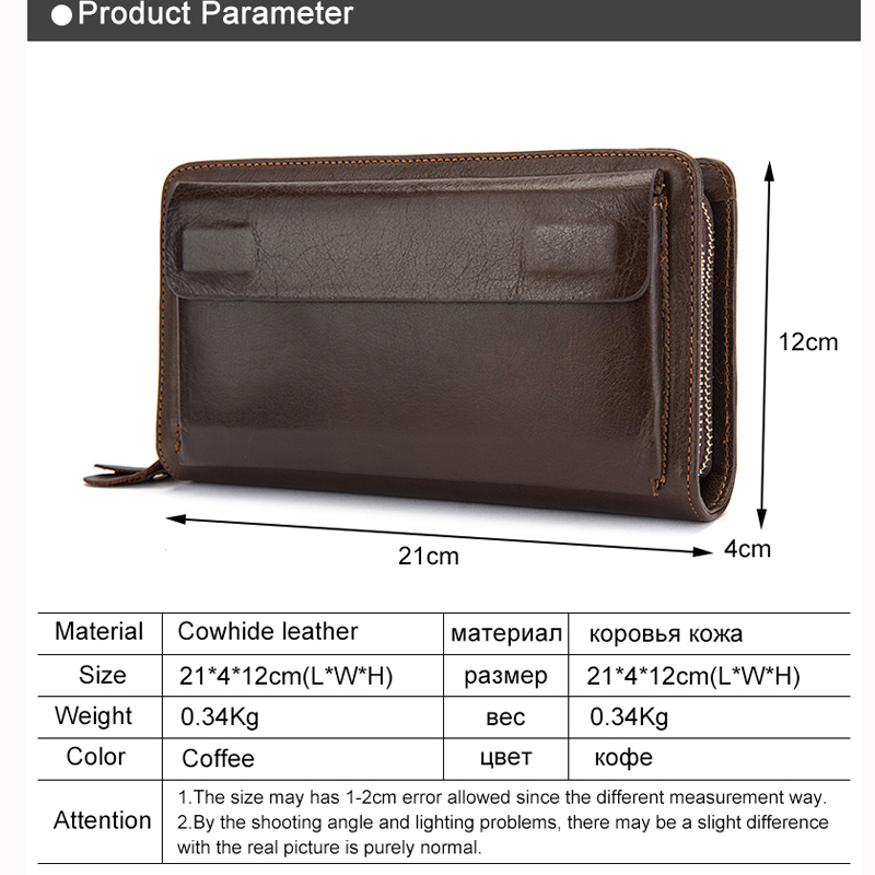 Image 4 - WESTAL Mens Wallet Genuine Leather Clutch Male Mens Clutch Bag Double Zip Wallet Leather Men Long Wallets Purse Money Bag 9069male pursemen purseclutch bag men -