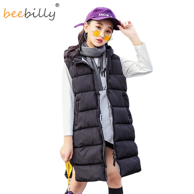 2019 Girls Vests Winter Kids hooded Thick Vests Fashion Childrens Solid Cotton Waistcoat Warm Outwear Jackets for Girl Clothes2019 Girls Vests Winter Kids hooded Thick Vests Fashion Childrens Solid Cotton Waistcoat Warm Outwear Jackets for Girl Clothes