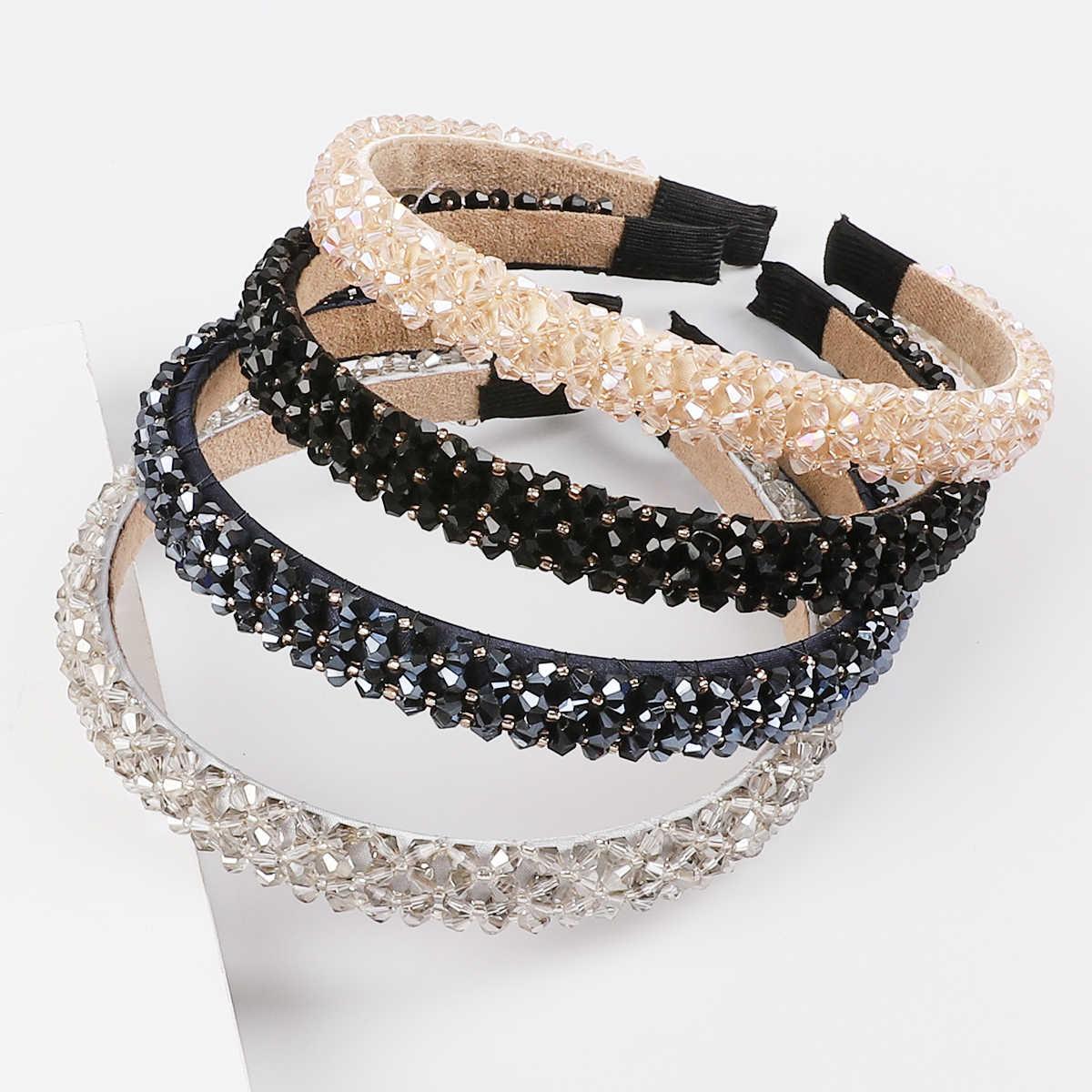 女の子光沢のある高級ラインストーンヘアバンドヘアクリップ高品質ダイヤモンドアクセサリー女性クリスタル飾り