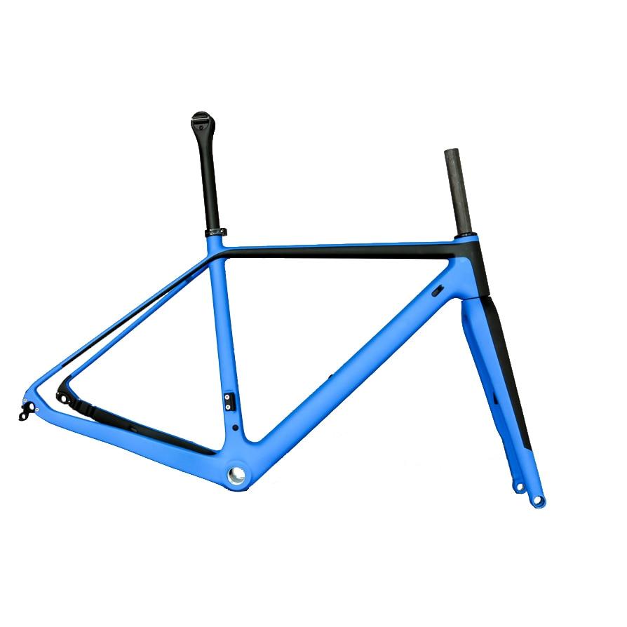 Blue Road/gravel Bike Carbon Fiber Frame 700 C Tire Full Carbon Frame GR029, Accept Custom Paint & Decals