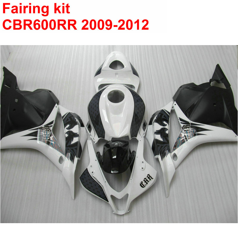 Injection molding Fairing kit for HONDA cbr600rr 2009 2010 2011 2012 CBR 600 RR white black ABS fairings set 09 10 11 12 LK28
