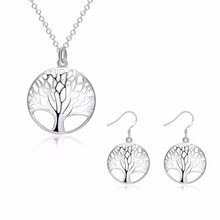 SMTCAT Creation Silver Tree Of Life jewelry bridal set necklace earring totem gift wife girl wedding wholesale jewellery 925(China)