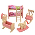 Pink Bathroom Furniture Bunk Bed House Wood Miniature Furniture for Kids Play Toy Wooden Furniture for Dolls