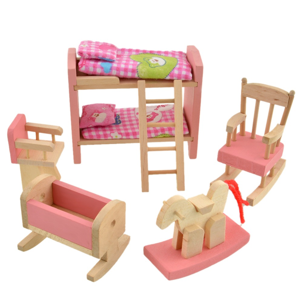 Pink Bathroom Furniture Bunk <font><b>Bed</b></font> House Furniture for Dolls Wood Miniature Furniture Wooden Toys for Children Birthday Xmas Gifts image