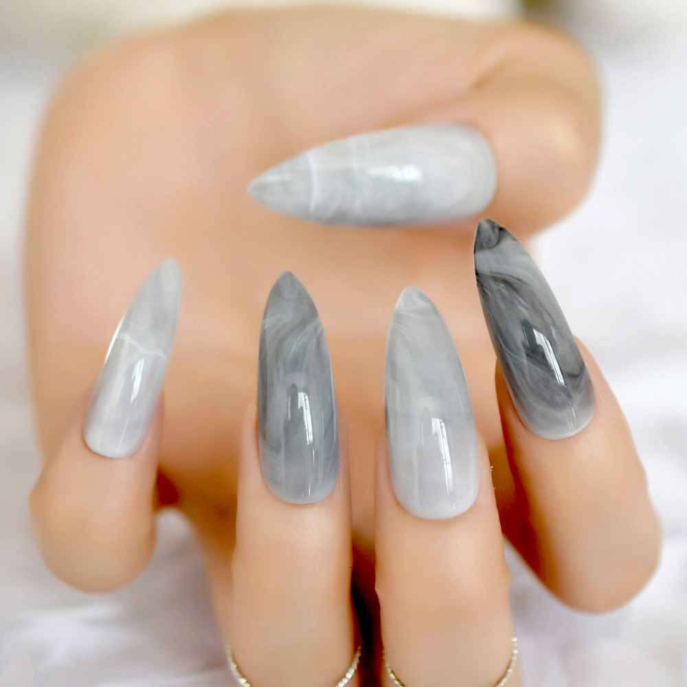 Extra long Stiletto Grey Marble Fake Nails Stone Pattern Pointed Dark Shiny Long Press On False Nails for Finger 24 Count couleur pour faux ongles