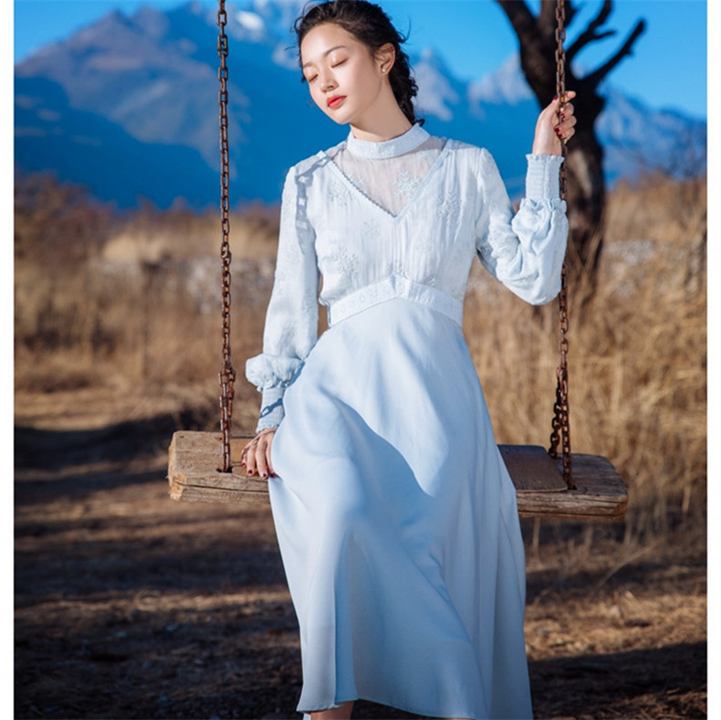 New High Quality Explosions Leisure Vintage Elegant Dresses Women Embroidery grace fullSleeve Spring summer Casual Dress