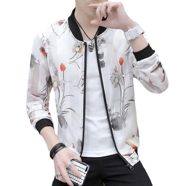 2019 Summer Jacket Men Thin Stage Street Jackets Men Bomber Mesh jacket man Print Hollow Sun Protect male sexy Transparent coat