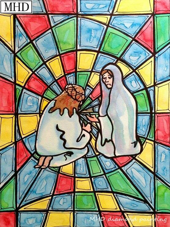 Stained Glass Jesus Cross Stitch Kit