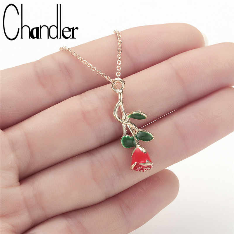 Chandler Red Rose Flower Necklace For Women 40cm Chain Chokers Flora Beauty and Beast Jewelry Delicate Handmade Lovers Gifts