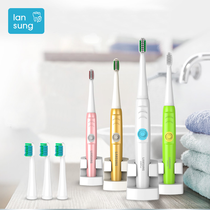 Lansung NEW Electric Toothbrush Rechargeable Ultrasonic Toothbrushes electric toothbrush Oral Hygiene Sonic tooth brush teeth 5 yasi fl a12 ultrasonic vibration rechargeable electric power teeth care toothbrushes with three brush head 5 mode protection