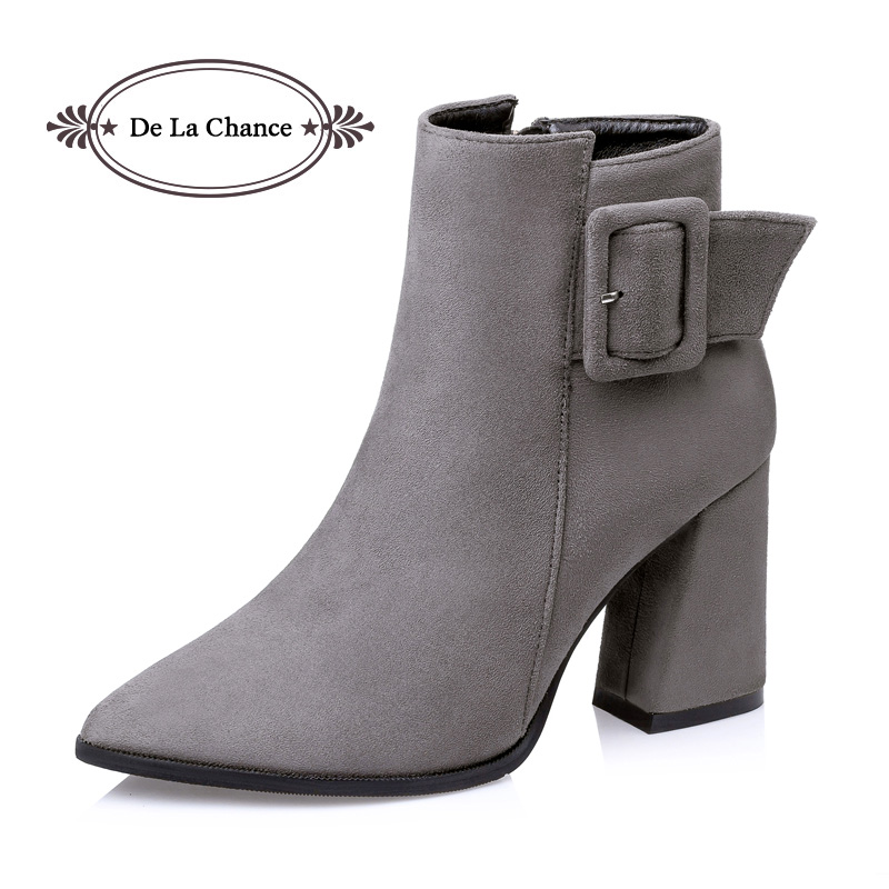 De La Chance Winter Fashion Women's Boots Pointed Toe Sexy Retro Thick High Heel Boots Shoes Woman Suede Buckle Ankle Boots Gray de la chance winter women boots high quality female genuine leather boots work