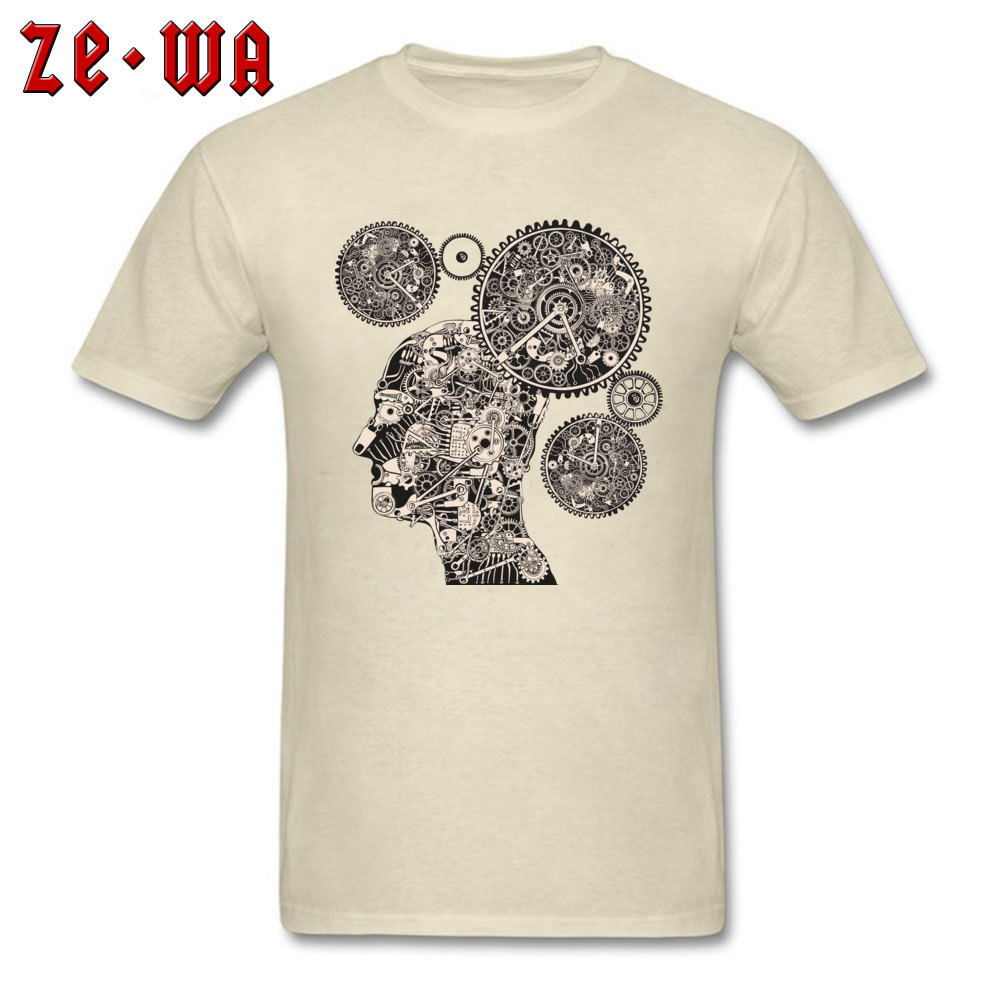 Tops T Shirt T Shirt Clock Machine Gear Mechanism Autumn Short Sleeve 100% Cotton Crew Neck Men Tshirts Slim Fit Graphic Clock Machine Gear Mechanism beige