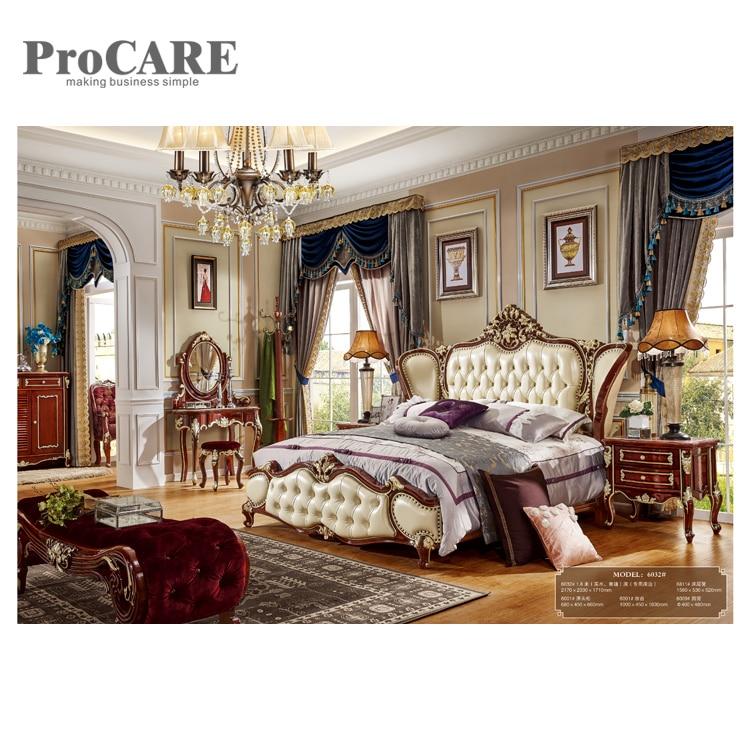 top quality home furniture, carved bed room set / solid wood modern design bedroom set wooden bed frame - 6032