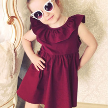 New baby girl Spring Summer dress bow tie pleated halo solid color princess dress mini children's clothing