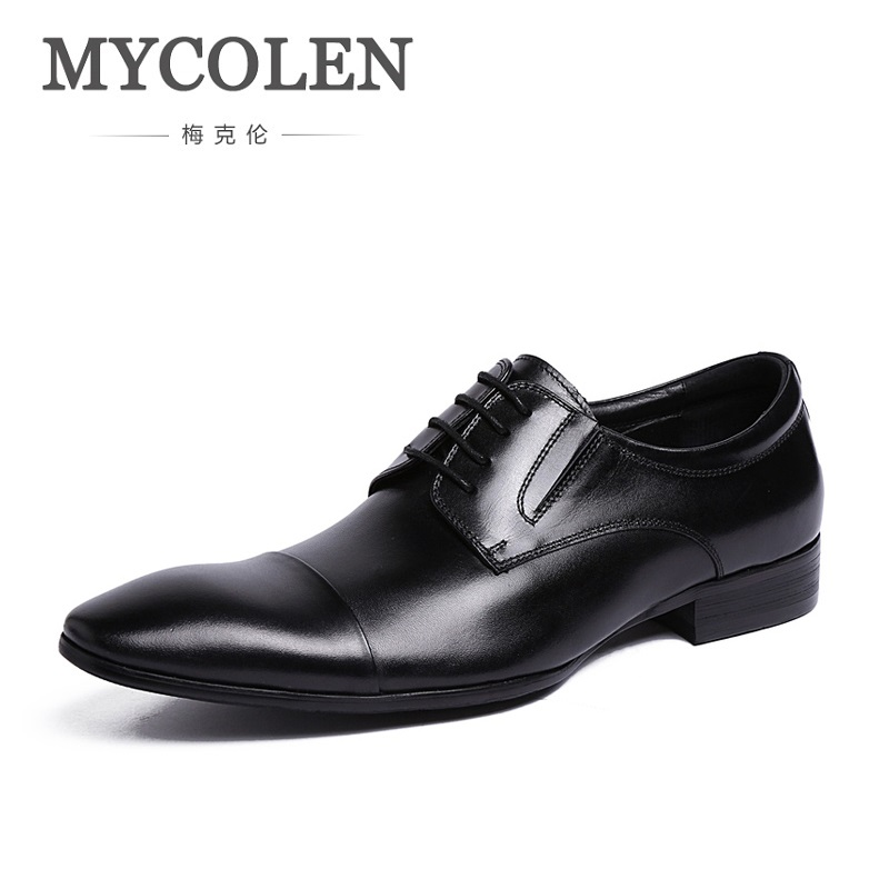 MYCOLEN Men Shoes Fashion Breathable Leather Shoes Men's Flats Lace-Up Men Shoes Genuine Leather High Quality Herenschoenen mycolen high quality men white leather shoes fashion high top men s casual shoes breathable man lace up brand shoes