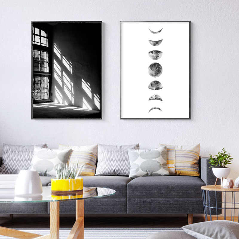 Minimalist Black White Moon Phases Canvas Painting Beach Posters and Prints Feather Wall Art Pictures for Living Room Decor