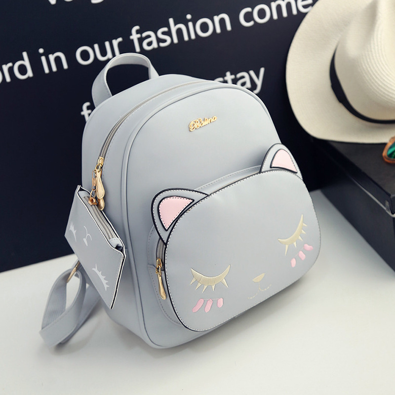 2017 new female Korean version pu backpack cute kittens college style ladies bag Japan and South Korea tide book bag female the new spring and summer ms south korea ensure their boots comfortable show female water thin antiskid tall canister shoe