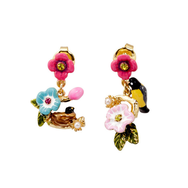 Warmhome Trendy Enamel Glaze Bird Flower Series FAsymmetric Pink Flowers Bird Nest For Women Stud Earrings