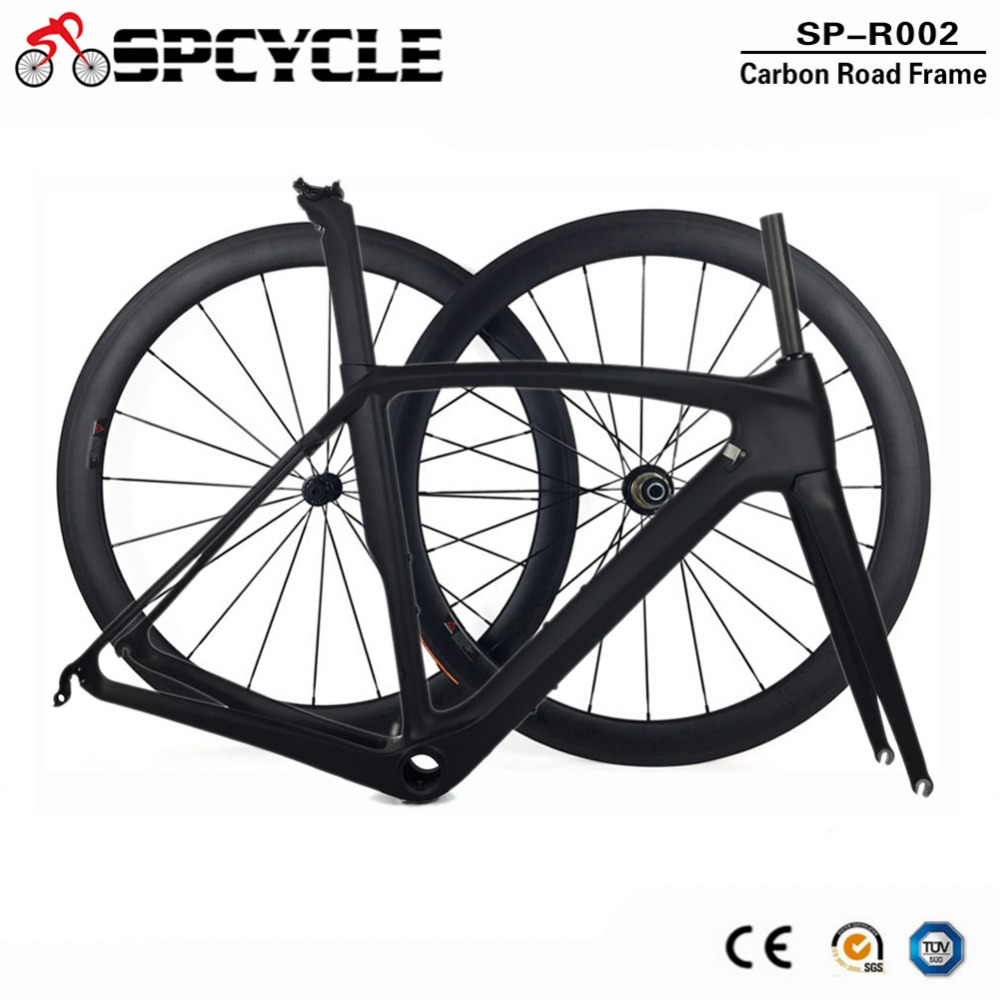 Spcycle Full Carbon Road Bike Frames And Wheels T1000 Racing Bicycle Carbon Frameset With 50mm Clincher Wheelset 50/53/55/57cm