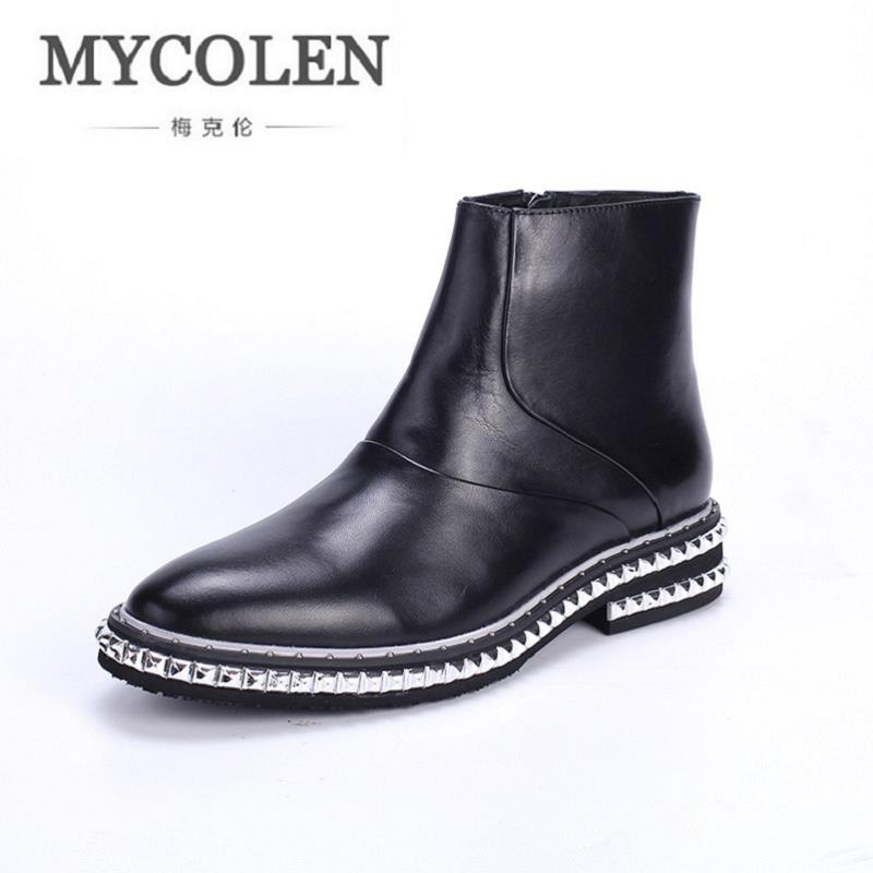 MYCOLEN New Fashion Men Winter Boots Business Rivet Bottom Men Boots High Top Genuine Leather Men Boots For Men Botines Hombre