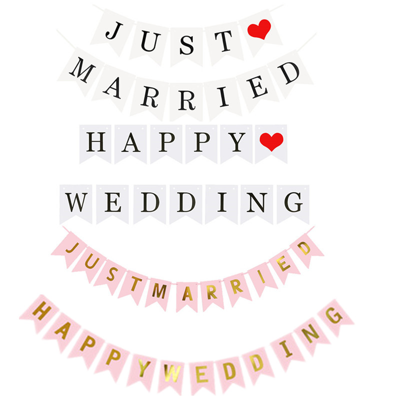 180480eb64f7 JUST MARRIED Banner Happy Wedding Banner Party Decor Bunting Photo Booth  Props Signs Wedding   Party Decoration