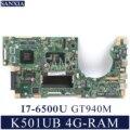 KEFU K501UX Laptop moederbord voor ASUS K501UB K501U Test originele moederbord DDR3 4G-RAM I7-6500U GT940M