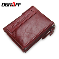 OGRAFF Women Wallet Female Genuine Leather Purse Credit Card Holder Dollar Wallet Men Small Women Wallet