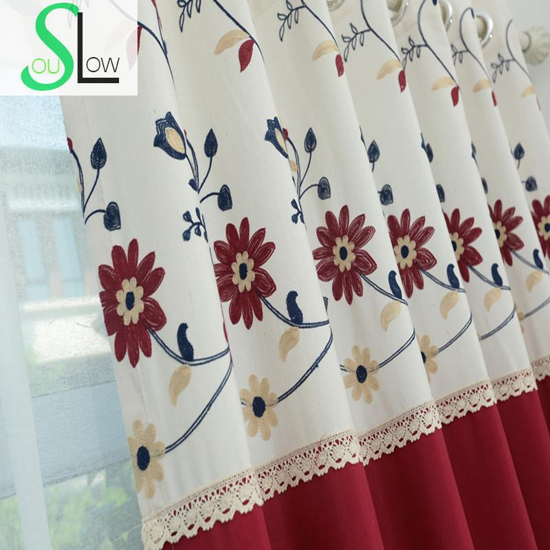 Slow Soul Blue Pink Red Wine Cotton Embroidered Sun Floral Pastoral Curtains  Tulle For Living Room Kitchen Bedroom Curtain. Blue Red Curtains Promotion Shop for Promotional Blue Red Curtains