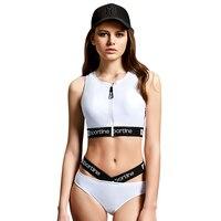 PHINIKISS Two Piece Women Girl Sleeveless Sport Swimwear Low Rise Bandage White Surfing Beachwear Swimsuit PH1013901