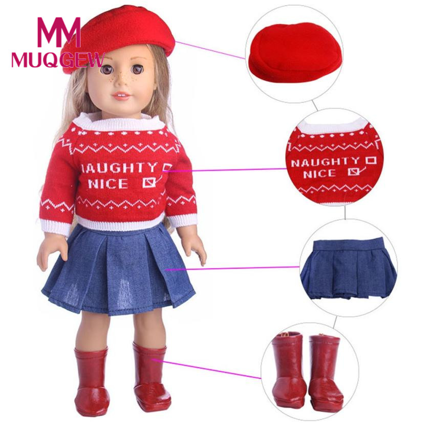 Drop Ship 4PC/3PC Cute Sweater Hat Outfits Skirt Fit For 18 inch Our Generation American Girl Doll accessories for dolls doll JD цена
